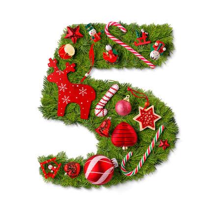 Foto de Number 5. Christmas tree decoration on a white background - Imagen libre de derechos