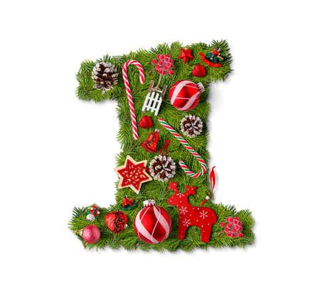 Foto de Number 1. Christmas tree decoration on a white background - Imagen libre de derechos