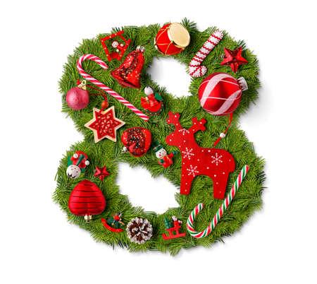 Foto de Number 8. Christmas tree decoration on a white background - Imagen libre de derechos
