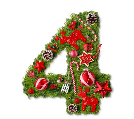 Foto de Number 4. Christmas tree decoration on a white background - Imagen libre de derechos