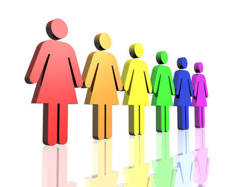 a row of gay flag colored woman sign
