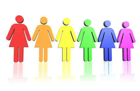 gay flag colored row of woman signs