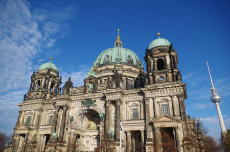 Berliner Dom - cathedral in Berlin. Rich decorations and decorative sculptures of the facade of one of the most famous churches in Germany, the historic cathedral standing on the Museum Island.
