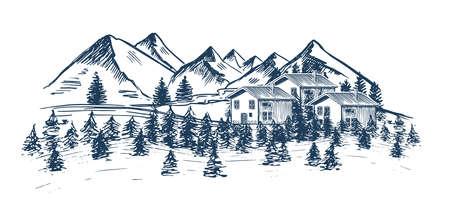 Illustration pour Mountain landscape, vector illustration, sketch style. - image libre de droit