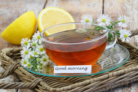 Good morning card with chamomile tea on wicker tray