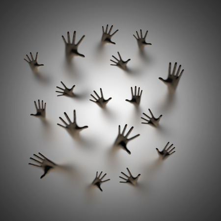 Lost souls, 3D render of ghostly hands reaching up behind frosted glass
