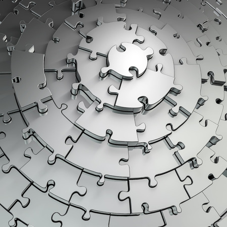 Photo for Metal puzzle frame  3D render of metallic circular puzzle pieces framing copy space - Royalty Free Image