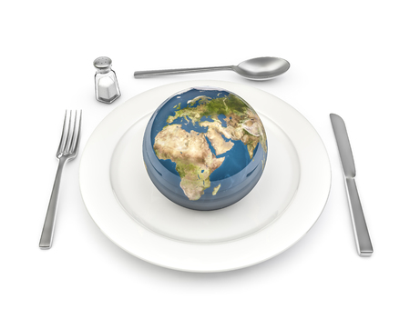 Photo pour World food  3D render of planet Earth served on plate - image libre de droit