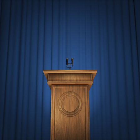 Press conference  3D render of speaker podium with microphones and blue curtain background