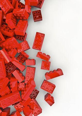Photo pour Toy building blocks  3D render of plastic toy building blocks - image libre de droit