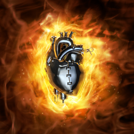 Photo pour Heavy metal heart  3D render of grungy metal heart with fire background - image libre de droit