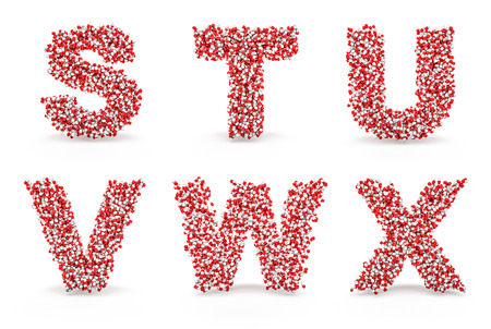 Pills alphabet S T U V W X  3D render of medicine capsules forming alphabet characters, easy to colorize