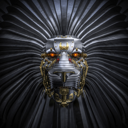 Hear Me Roar  3D render of metallic robot lion