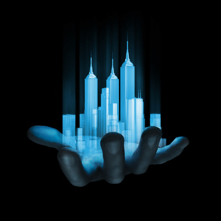 Photo for Virtual reality city  3D render of miniature holographic city in human hand - Royalty Free Image