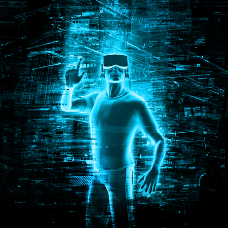 Photo pour Virtual reality user  3D render of man wearing virtual reality glasses surrounded by virtual data - image libre de droit