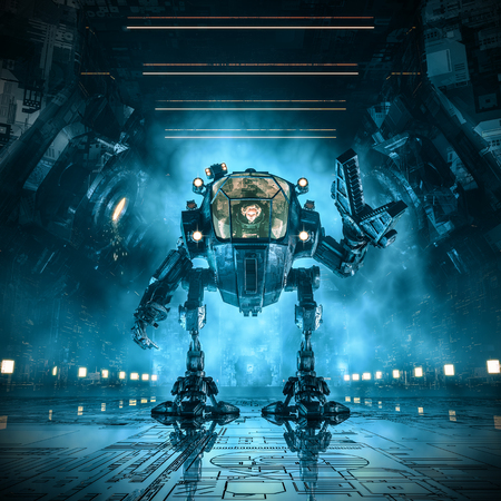 Photo for Cargo loader mech / 3D  of science fiction scene with female astronaut controlling heavy industrial mech robot inside dark industrial space ship corridor - Royalty Free Image