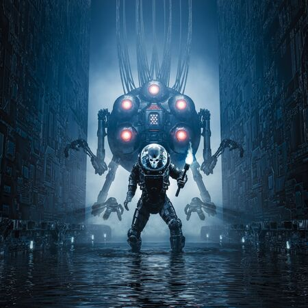 Photo for Entering the temple of science fiction scene showing evil skull faced astronaut exploring watery corridor with giant robot - Royalty Free Image