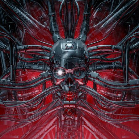 Photo pour Skull of the gamer of scary evil robotic skull connected to alien machinery - image libre de droit