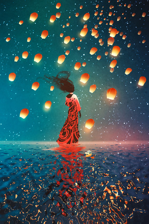 woman in dress standing on water against lanterns floating in a night sky,illustration painting