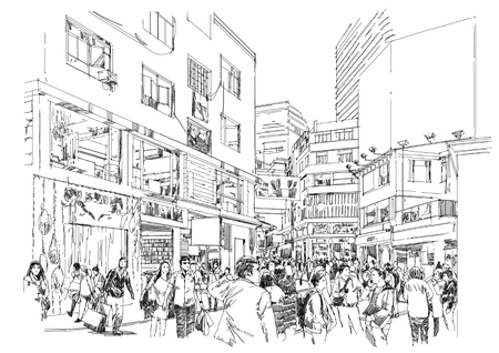 sketch of crowd of people in shopping street
