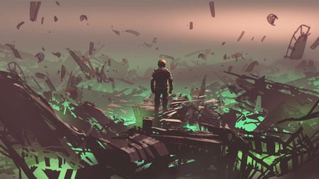 Photo for Astronaut looking at space junkyard on alien planet, digital art style, illustration painting - Royalty Free Image