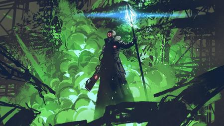 Foto de Sci-fi character in black cloak with light spear standing against green explosion - Imagen libre de derechos