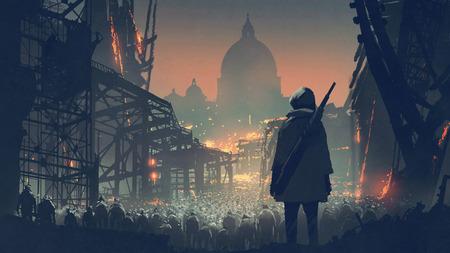 Foto de Young man with gun looking at crowd of people in apocalyptic city, digital art style - Imagen libre de derechos
