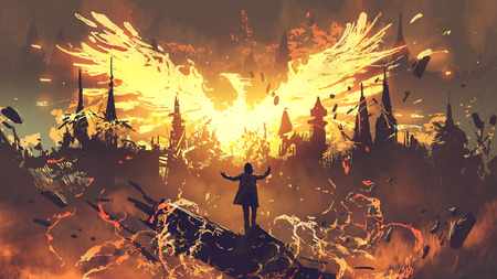Photo for Wizard summoning the phoenix from hell, digital art style - Royalty Free Image