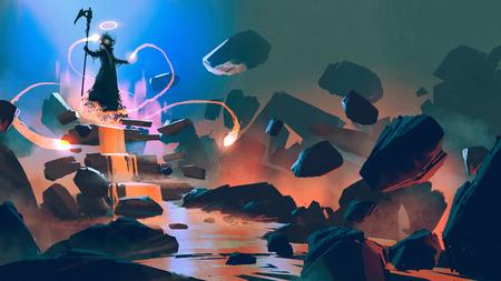 Foto de The  floating with his magic in hell, digital art style - Imagen libre de derechos