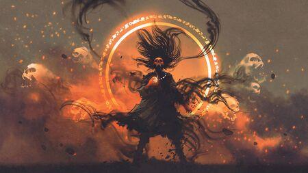 Photo pour Angry sorcerer of evil spirits holds a magic gem cast a spell, digital art style - image libre de droit