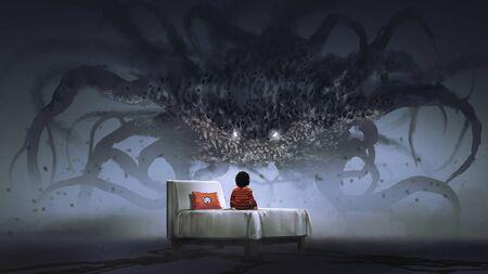 Foto de Nightmare concept showing a boy on bed facing giant monster in the dark land - Imagen libre de derechos