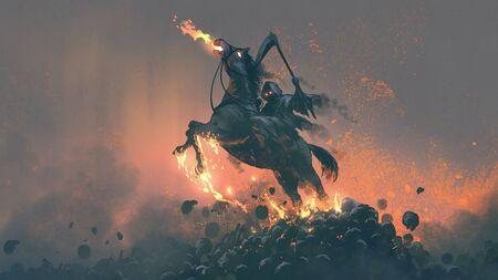 Foto de Horseman, grim reaper riding the horse jumping  from a pile of human skulls - Imagen libre de derechos