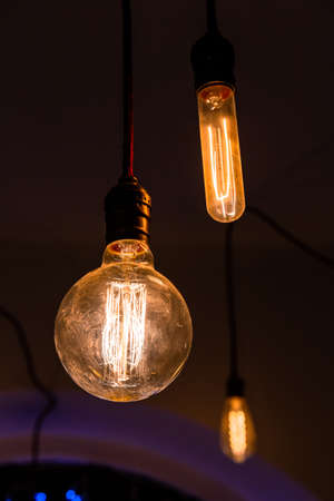 Photo for luminous bulbs with glass bulb and incandescent filament - Royalty Free Image