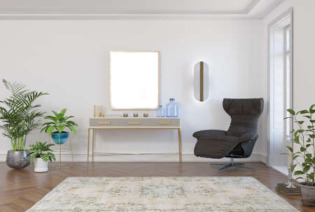 Photo pour 3d rendering of neoclassical interior room with armchair, console and mock-up pattern - image libre de droit