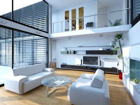 Photo pour 3d rendering of living room interior - image libre de droit