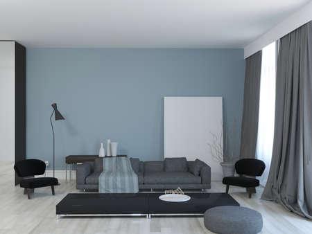 Foto de 3d rendering of living room with blue wall and mock up pattern. - Imagen libre de derechos