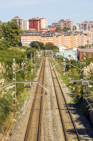 Railway of train in Santander in the north of Spain in a sunny day.