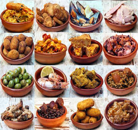 Photo pour Collage of typical dish of spanish food - image libre de droit
