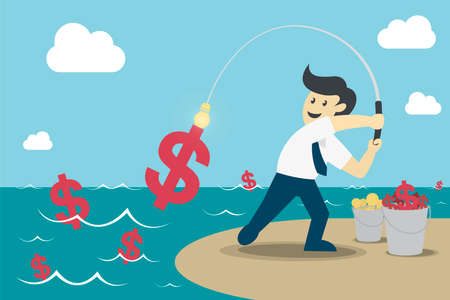 Businessman fishing dollar money, Make Money from idea, vector illustration