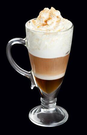 Latte, coffee isolated on black