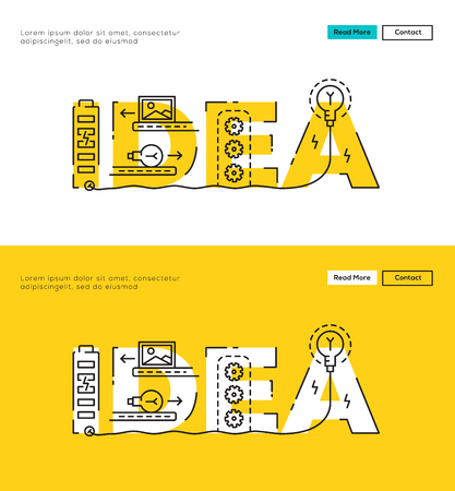 Illustration for Modern Flat line design concept of Big Idea and Idea Process. Flat line design for Website Element , Web Template, Web Banner , Book Cover and Corporate documents. - Royalty Free Image