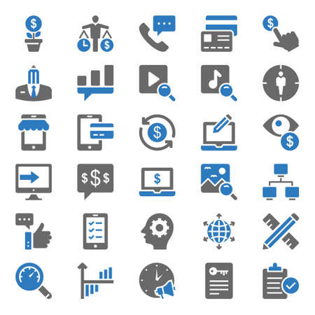 Illustration for Two color icons for seo & web. - Royalty Free Image