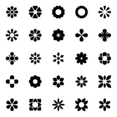 Illustration pour Glyph icons for flowers. - image libre de droit