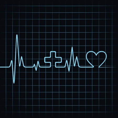 Heart beat make medical and heart symbol stock vector