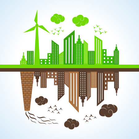 Illustration of eco and polluted city