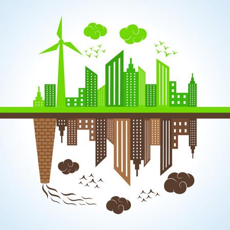 Ilustración de Illustration of eco and polluted city  - Imagen libre de derechos