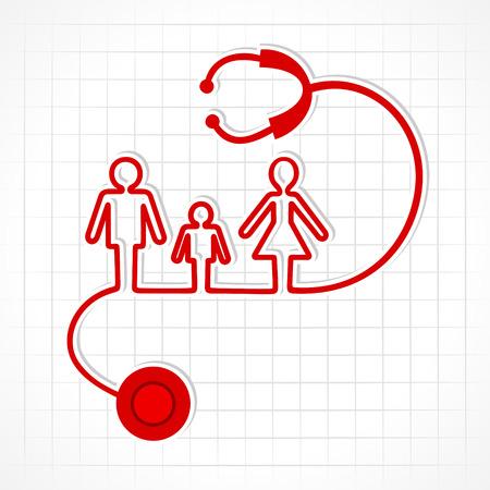 Stethoscope make family icon stock vector