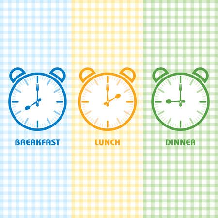 Vektor für Breakfast Lunch and Dinner time stock vector - Lizenzfreies Bild
