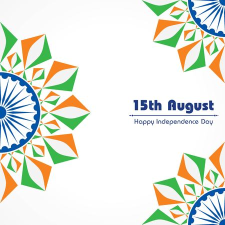 Illustration pour Vector Illustration of Indian Independence Day concept background with Ashoka wheel - image libre de droit