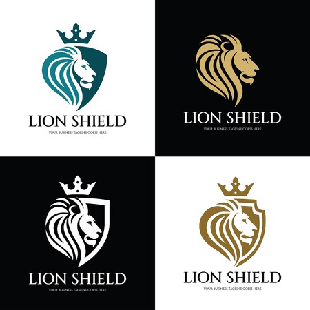 Illustration for Lion shield logo design template. Lion head logo. Vector illustration - Royalty Free Image